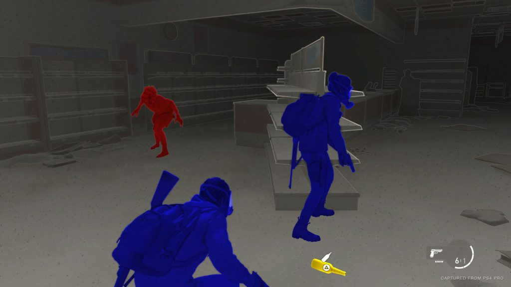 The Last of Us Part 2 video game screenshot shows high contrast blue and red figures on a grey background with a yellow bottle in the foreground.